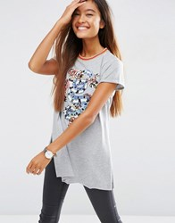 Asos T Shirt With Chinoserie Print And Emboridery With Sparkly Tipping Grey Marl