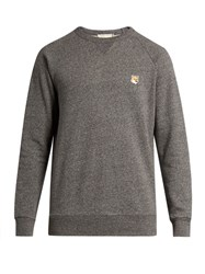 Maison Kitsune Fox Applique Crew Neck Cotton Sweatshirt Grey