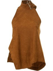 Marques Almeida Buckle Neck Halterneck Tank Top Brown