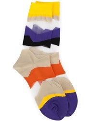 Issey Miyake Striped Socks Pink And Purple