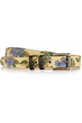 Rag And Bone Floral Print Brushed Suede Skinny Belt Yellow