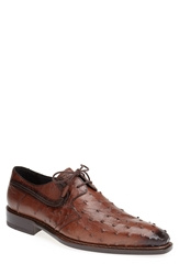 Mezlan 'Romano' Ostrich Plain Toe Derby Men Tobacco