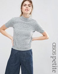 Asos Petite Knitted Tee With High Neck Grey