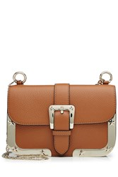 Red Valentino Leather Shoulder Bag With Gold Tone Frame Brown