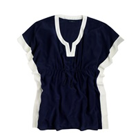 J.Crew Colorblock Silk Tunic Navy Ivory