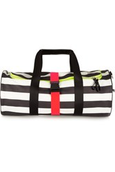 Monreal London Striped Neon Trimmed Leather Holdall Black