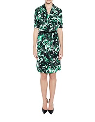 Pink Tartan Marble Blouson Dress Green Black