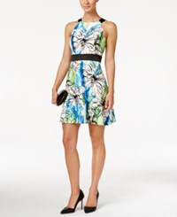 Jessica Howard Petite Printed Halter Fit And Flare Dress Blue