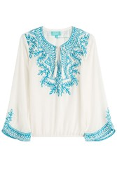 Taj Beaded Silk Top White