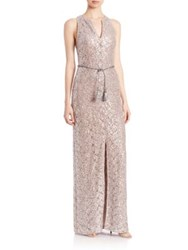 Kay Unger Sequined Lace Belted Gown