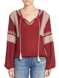 Tularosa Shane Embroidered Peasant Blouse Mulled Wine