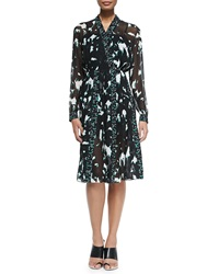 Proenza Schouler Long Sleeve Printed Dress W Pleated Skirt