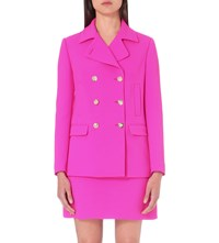 Versace Double Breasted Wool Coat Fuschia