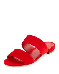 Mansur Gavriel Suede Two Band Flat Slide Sandal Flamma
