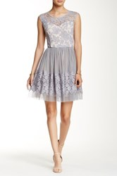 Soieblu Lace Overlay Party Dress Gray
