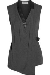Bailey 44 Wrap Effect Jersey Top Gray