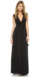 Halston V Neck Jersey Gown With Wrap Tie Black
