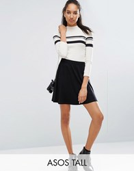 Asos Tall Mini Skater Skirt With Elastic Waist Detail Black