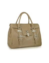Buti Medium Grained Leather Flap Satchel Bag Brown