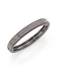 Adriana Orsini Pave Crystal Four Row Bangle Bracelet Silver