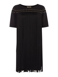 Biba Fringe Tassel Eyelet Dress Black