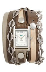 La Mer Women's Collections Leather And Chain Wrap Bracelet Watch 28Mm Grey Silver