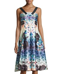 Mackenzie Mode Black Rose Sleeveless A Line Dress Multi