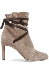 Jimmy Choo Dalal Leather Trimmed Suede Ankle Boots Beige