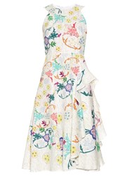 Peter Pilotto Japanese Floral Print Sleeveless Dress White Multi