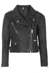 Topshop Petite Luxe Leather Biker Jacket Black