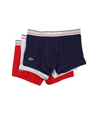 Lacoste Colours Grey Waistband 3 Pack Trunk Medieval Blue Grey Barbados Cherry Men's Underwear Multi
