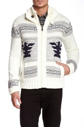 American Stitch Hooded Aztec Knit Sweater Beige