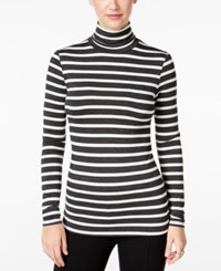 G.H. Bass And Co. Striped Turtleneck Top Heather Charcoal