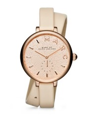Marc By Marc Jacobs Sally Floral Rose Goldtone Stainless Steel And Leather Double Wrap Watch Rose Gold Blush