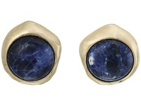 Lauren Ralph Lauren Coastal Blues Round Stone Clip Earrings Blue Gold Earring