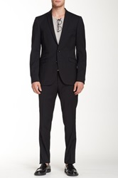 Tiger Of Sweden Black Solid Two Button Notch Lapel Wool Suit