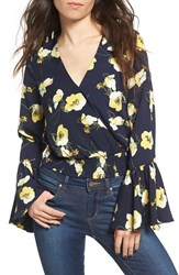 Moon River Women's Floral Print Surplice Blouse
