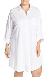Plus Size Women's Lauren Ralph Lauren Jacquard Sleep Shirt White