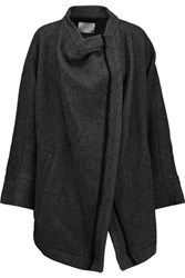 Iro Aklaspe Asymmetric Wool Blend Coat Charcoal