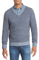 Men's Big And Tall Nordstrom Plaited Cashmere V Neck Sweater Blue Dark