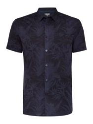 Linea Graye Tonal Botanical Floral Short Sleeve Shirt Blue