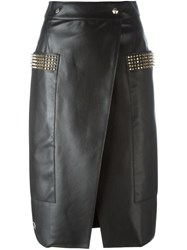 Philipp Plein Wrap Pencil Skirt Black