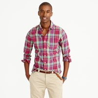 J.Crew Slim Indian Madras Shirt In Pale Burgundy