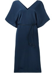 Joseph V Neck Midi Dress Blue