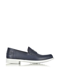 A.Testoni Navy Leather Moccasin Shoe Navy Blue