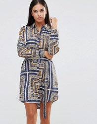 Ax Paris Long Sleeve Printed Shirt Dress Multi