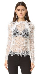 Self Portrait Cutout Floral Top White