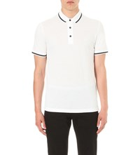 Emporio Armani Tipped Cotton Pique Polo Shirt Bianco Ottico