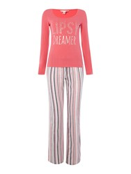 Lipsy Dreamer Long Sleeve And Stripe Bottoms Set Pink