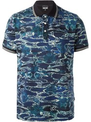 Just Cavalli Abstract Print Polo Shirt Blue